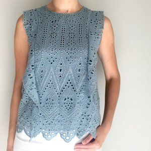 Lucky brand teal eyelet lace scallop ruffle top XS